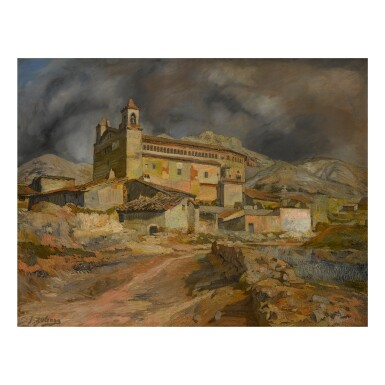 View full screen - View 1 of Lot 66. IGNACIO ZULOAGA | LA IGLESIA DE MALUENDA.