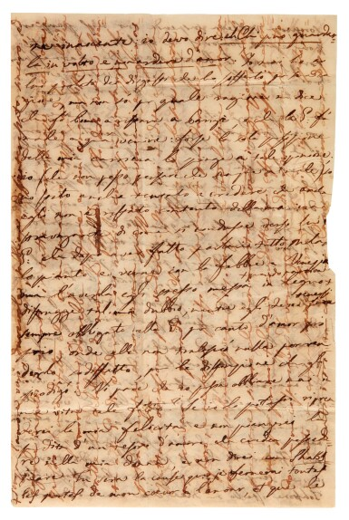 """View 1. Thumbnail of Lot 38. V. Bellini. Five autograph letters about his love affairs, """"I puritani"""" and Shakespeare, mainly unpublished, 1834-1835."""