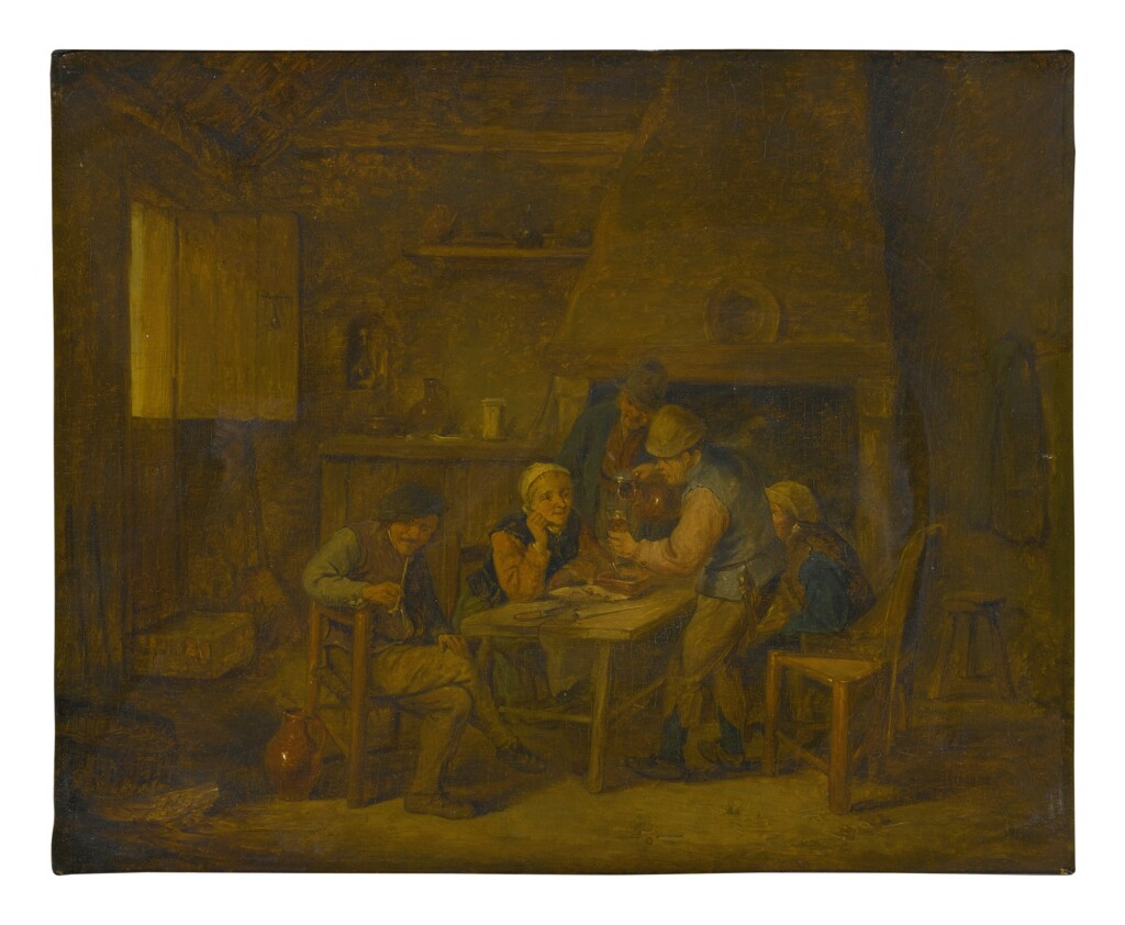MANNER OF ADRIAEN VAN OSTADE   A TAVERN INTERIOR WITH FIGURES DRINKING AND SMOKING AROUND A TABLE