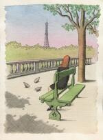 Une femme de dos regardant vers la tour Eiffel, assise sur un banc d'une terrasse dans un jardin parisien