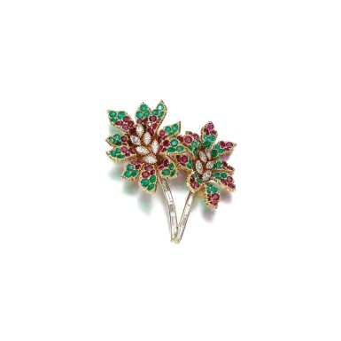 View 1. Thumbnail of Lot 63. EMERALD, RUBY AND DIAMOND BROOCH, CARTIER, CIRCA 1969.