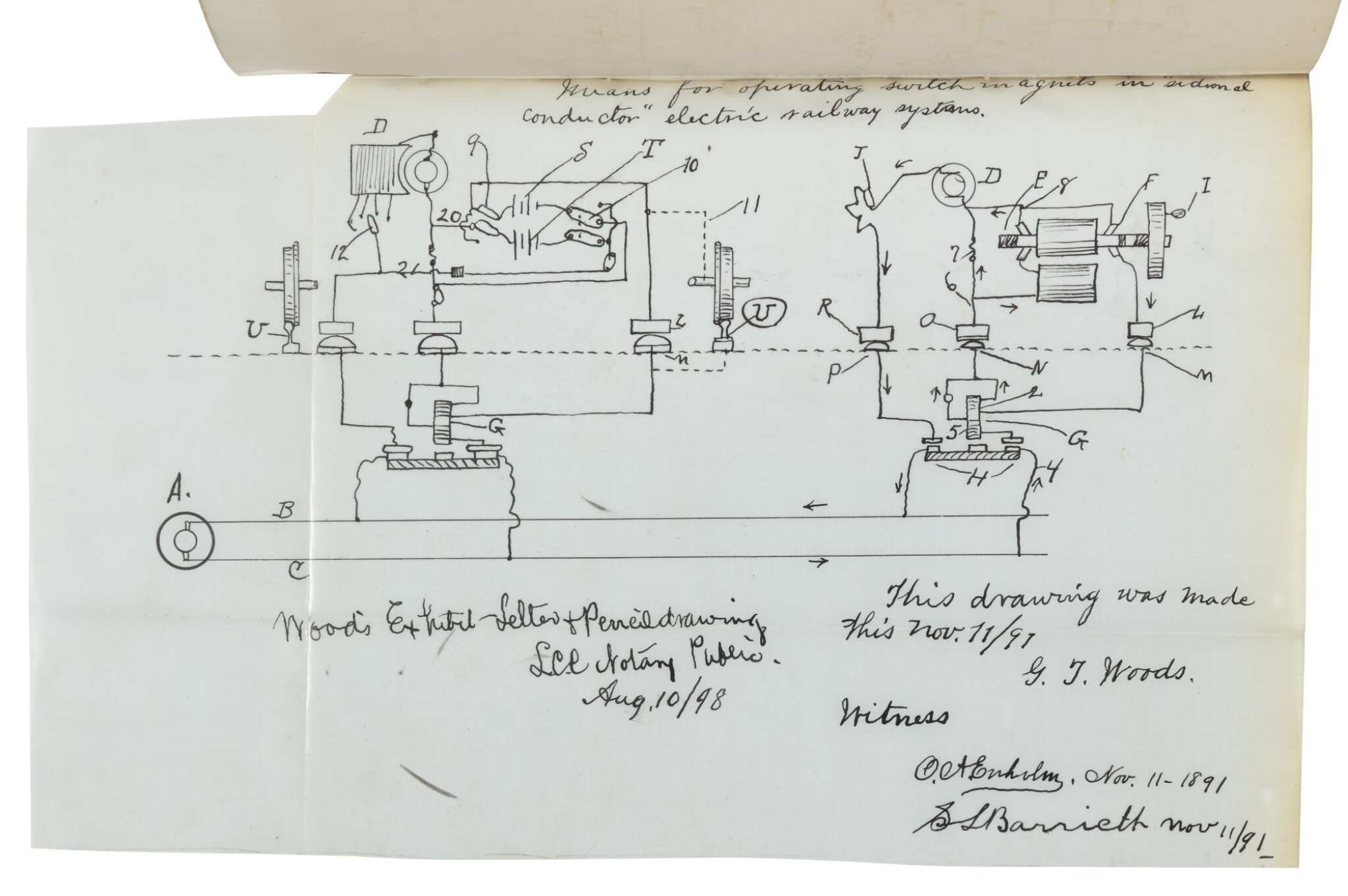 View 1 of Lot 70. MCELROY AND NICHOLSON PATENT DOCUMENTS, PRIMARILY RELATING TO GRANVILLE T. WOODS | Collection of documents compiled by the United States Patent Office. V.p., 1887–1891.