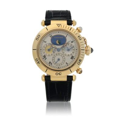 View 1. Thumbnail of Lot 469. Pasha, Ref. 0925-1 Yellow gold triple time zone wristwatch with date and moon phases Circa 1990 | 卡地亞  0925-1型號「Pasha」黃金三地時間腕錶備日期及月相顯示,年份約1990.