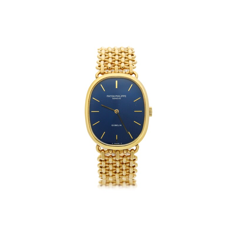 Reference 3848  Retailed by Gubelin: A Yellow Gold Oval Bracelet Watch, Circa 1985