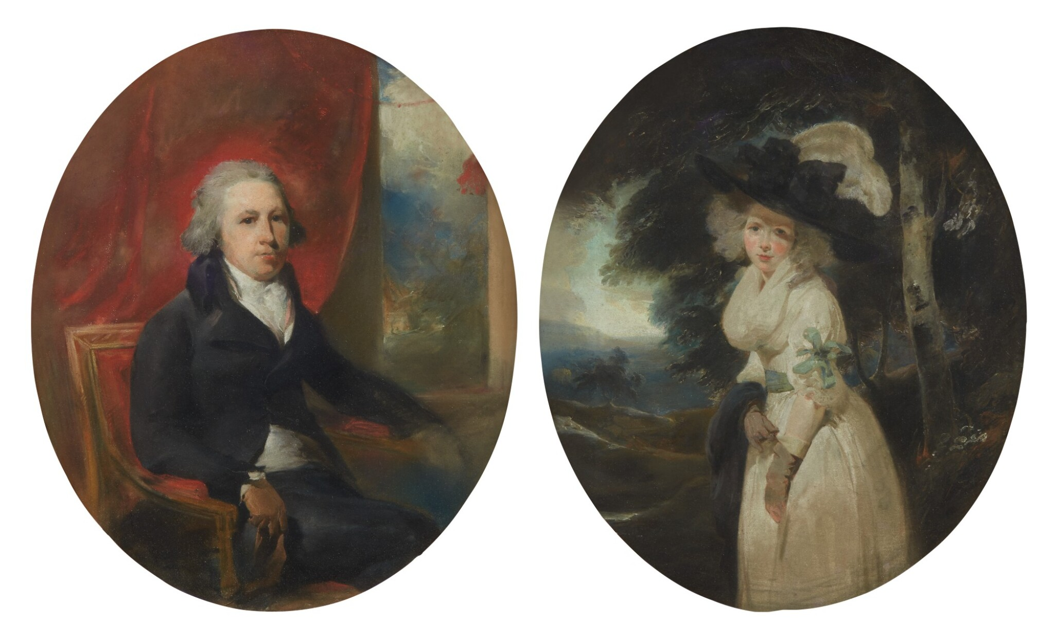 View full screen - View 1 of Lot 126. Sold Without Reserve   SIR THOMAS LAWRENCE, P.R.A.   PORTRAIT OF WILLIAM HAMILTON, R.A., THREE-QUARTER-LENGTH; PORTRAIT OF MARY HAMILTON, R.A., THREE-QUARTER-LENGTH.