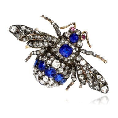 View 1. Thumbnail of Lot 88. Sapphire and diamond brooch, late 19th century.