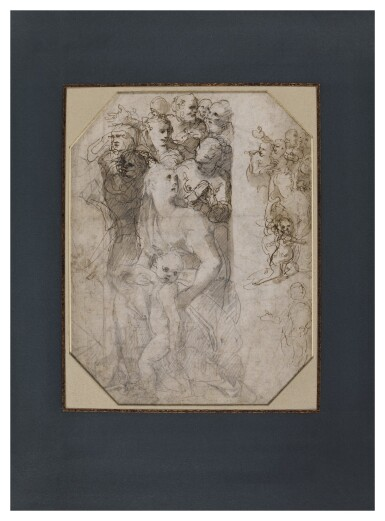 View 2. Thumbnail of Lot 214. Recto: Two groups of figures, studies for the Frangipani Chapel, San Marcello al Corso Verso: Studies for the lunette above the altar in the Frangipani Chapel and an architectural design for a wall decoration.