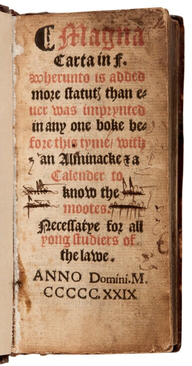 View 1. Thumbnail of Lot 111. [England, Laws] Magna Carta in F., London, 1529 [1539], old calf.