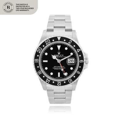 View 1. Thumbnail of Lot 103. GMT-Master II, Ref. 16710     Montre bracelet en acier avec deux fuseaux horaires et date    Stainless steel dual time zone wristwatch with date and bracelet     Vers 1999    Circa 1999.