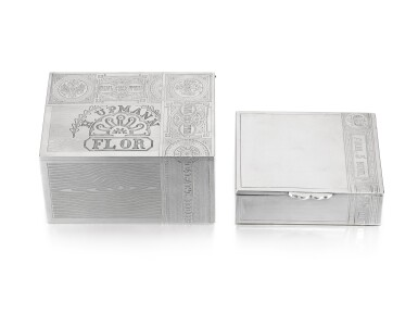 A pair of silver trompe l'oeilcigar and cigaretteboxes, Alexand Mukhin and an unknown maker, Moscow, 1887 and 1908-1917