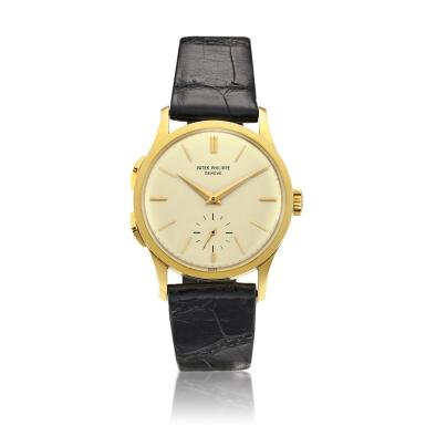 View 1. Thumbnail of Lot 2266. Push Button Time, Reference 2597 | A yellow gold travel time wristwatch, Made in 1963 | 百達翡麗 | Push Button Time 型號2597 | 黃金旅行時間腕錶,1963年製.