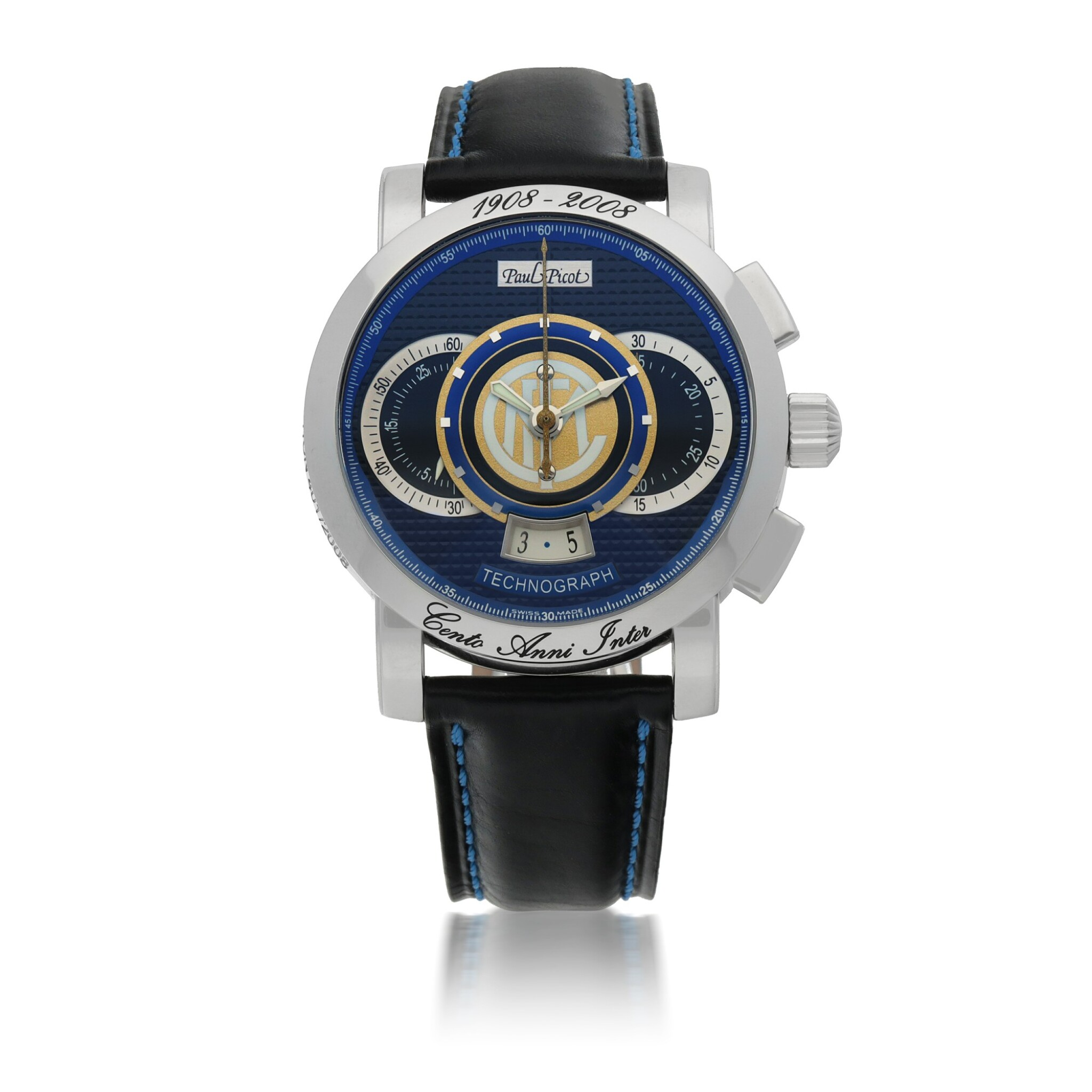 View full screen - View 1 of Lot 913. 'CENTO ANNI INTER' TECHNOGRAPH, REF 0334. SGI LIMITED EDITION STAINLESS STEEL CHRONOGRAPH WRISTWATCH WITH DATE MADE TO COMMEMORATE THE 100TH ANNIVERSARY OF INTER MILAN FOOTBALL CLUB CIRCA 2008.