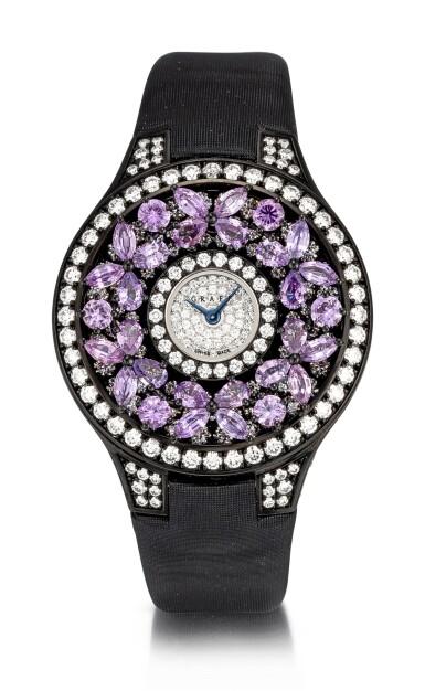 View 1. Thumbnail of Lot 1045. 'Butterfly' Reference BF32BGVSD, 5 Limited Edition Blackened Gold, Purple Sapphire and Diamond-Set Wristwatch | 格拉夫| Butterfly編號BF32BGVSD 5,限量版鍍黑金,紫色剛玉及鑽石腕表,約2010年製.