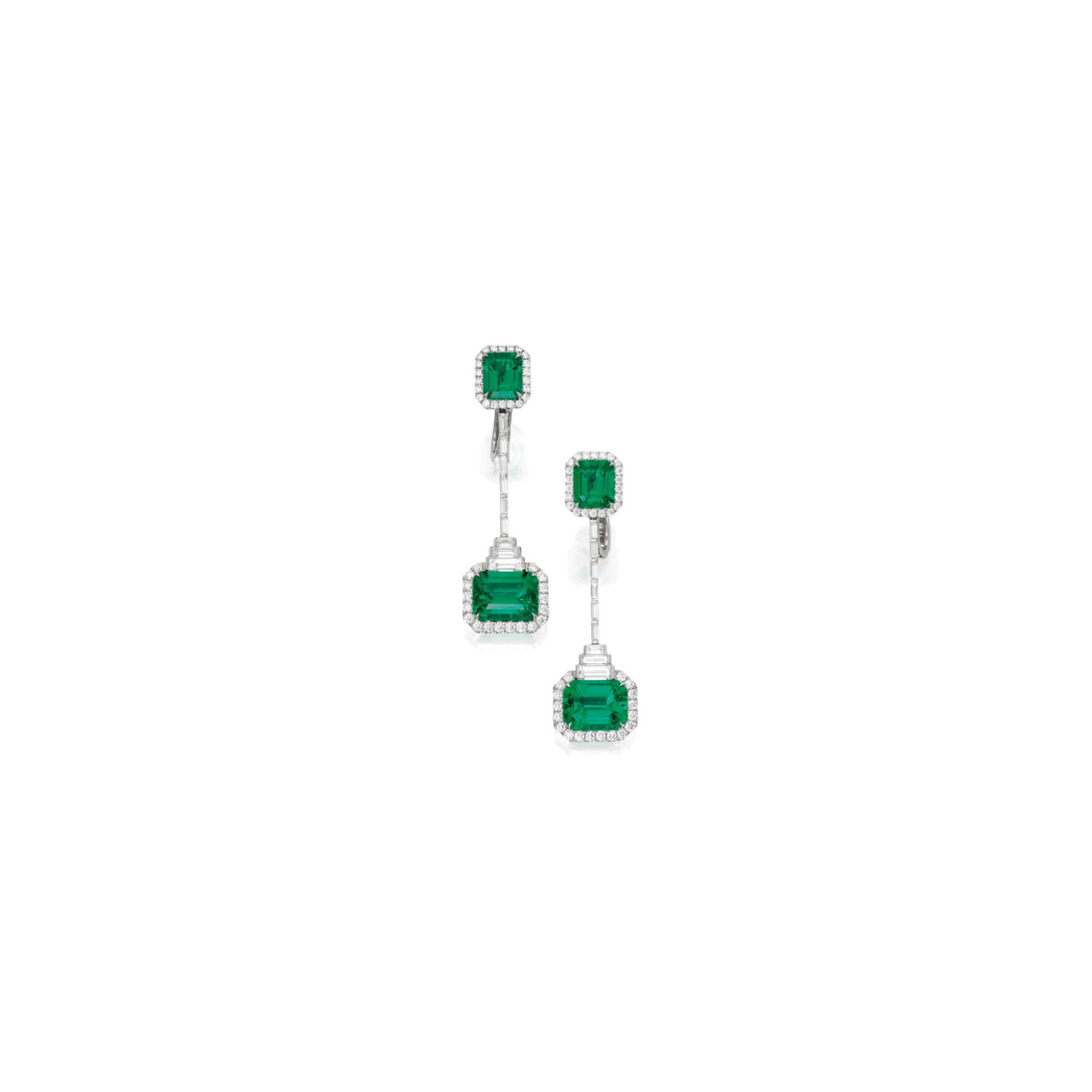 View full screen - View 1 of Lot 432. PAIR OF EMERALD AND DIAMOND PENDANT-EARCLIPS   祖母綠配鑽石吊耳環一對.