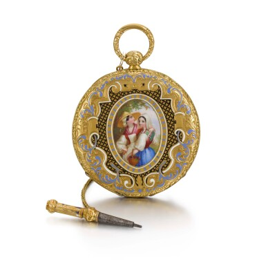 View 1. Thumbnail of Lot 289. SWISS | A GOLD AND ENAMEL ULTRA SLIM BAGNOLET WATCH, CIRCA 1850 NO. 24389.
