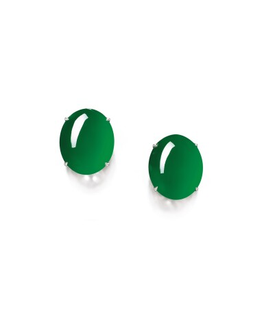 View 1. Thumbnail of Lot 1681. Pair of Imperial Green Jadeite Earrings | 天然「帝王綠」翡翠耳環一對.