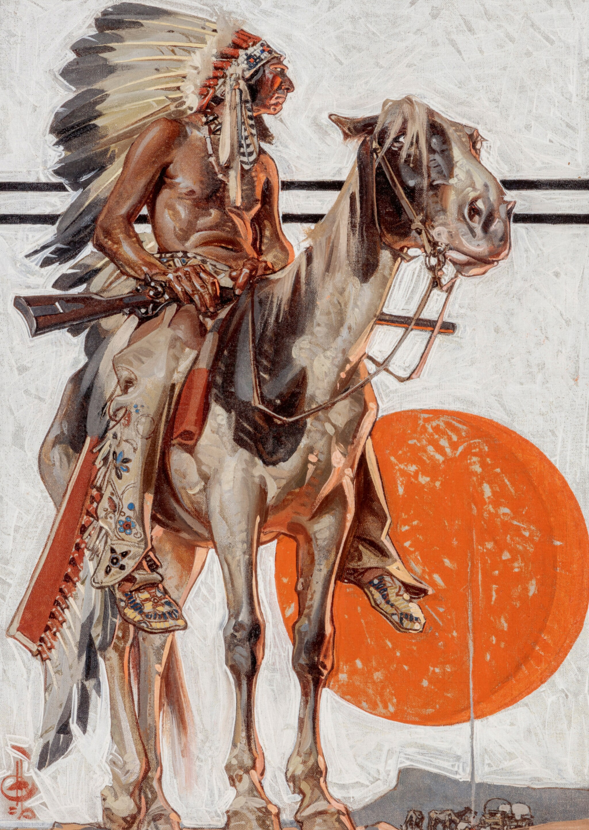 View full screen - View 1 of Lot 25. JOSEPH CHRISTIAN LEYENDECKER | INDIAN WITH CAMPFIRE BELOW.