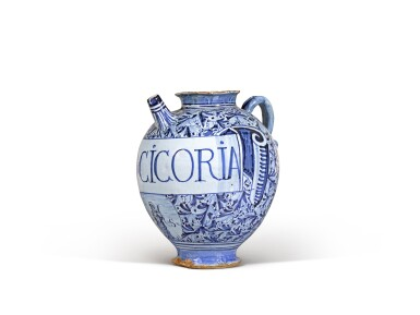 View 4. Thumbnail of Lot 6. Three Italian maiolica syrup jars, probably Montelupo or perhaps Venice, circa 1580 and circa 1620.