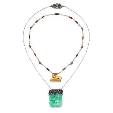 View 2. Thumbnail of Lot 56. JADEITE AND DIAMOND PENDANT NECKLACE AND AN ENAMEL AND SEED PEARL NECKLACE.