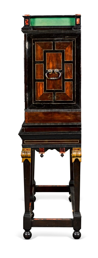 View 4. Thumbnail of Lot 43. A Flemish Baroque silver and gilt-metal mounted ebony, rosewood, tortoiseshell, ivory, inlaid and carved giltwood cabinet-on-stand, probably Antwerp, late 17th century.