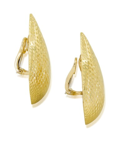 View 3. Thumbnail of Lot 15. TIFFANY & CO.   PAIR OF GOLD EARCLIPS.