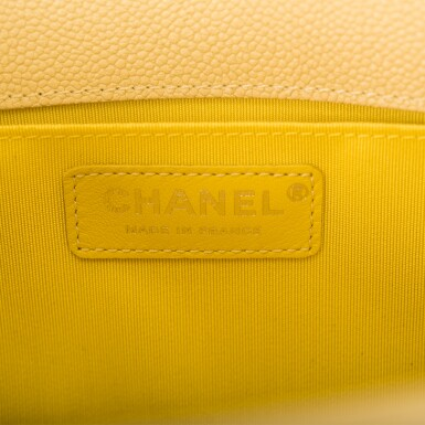 View 8. Thumbnail of Lot 84. Chanel Yellow Quilted Old Medium Boy Bag of Caviar Leather with Silver Hardware.