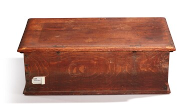 View 3. Thumbnail of Lot 59. Very Fine and Rare Pilgrim Century Red-Painted Carved Oak and Yellow Pine Document Box, attributed to John Moore I, Windsor, Connecticut, circa 1685.