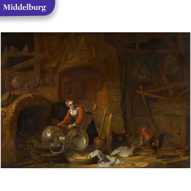 View 1. Thumbnail of Lot 26. Kitchen interior with a woman scouring pots and pans.