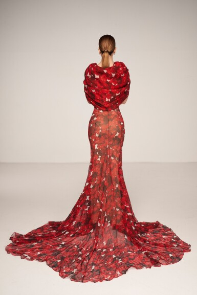 View 2. Thumbnail of Lot 37. Haute Couture Floral Printed Silk Chiffon and Gazar Evening Gown.
