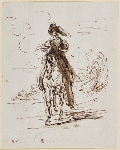 SIR FRANCIS GRANT, P.R.A. | Portrait of a lady on horseback, possibly a study of Queen Victoria