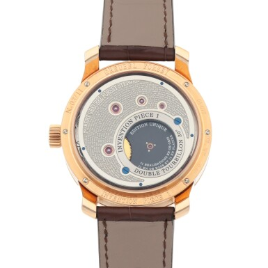 View 4. Thumbnail of Lot 27. INVENTION PIECE 1 REF GF02N LIMITED EDITION PINK GOLD DOUBLE TOURBILLON WRISTWATCH WITH POWER RESERVE INDICATION CIRCA 2008 [ Greubel Forsey GF02N型號「INVENTION PIECE 1」限量版粉紅金雙體陀飛輪腕錶備動力儲存顯示,年份約2008].
