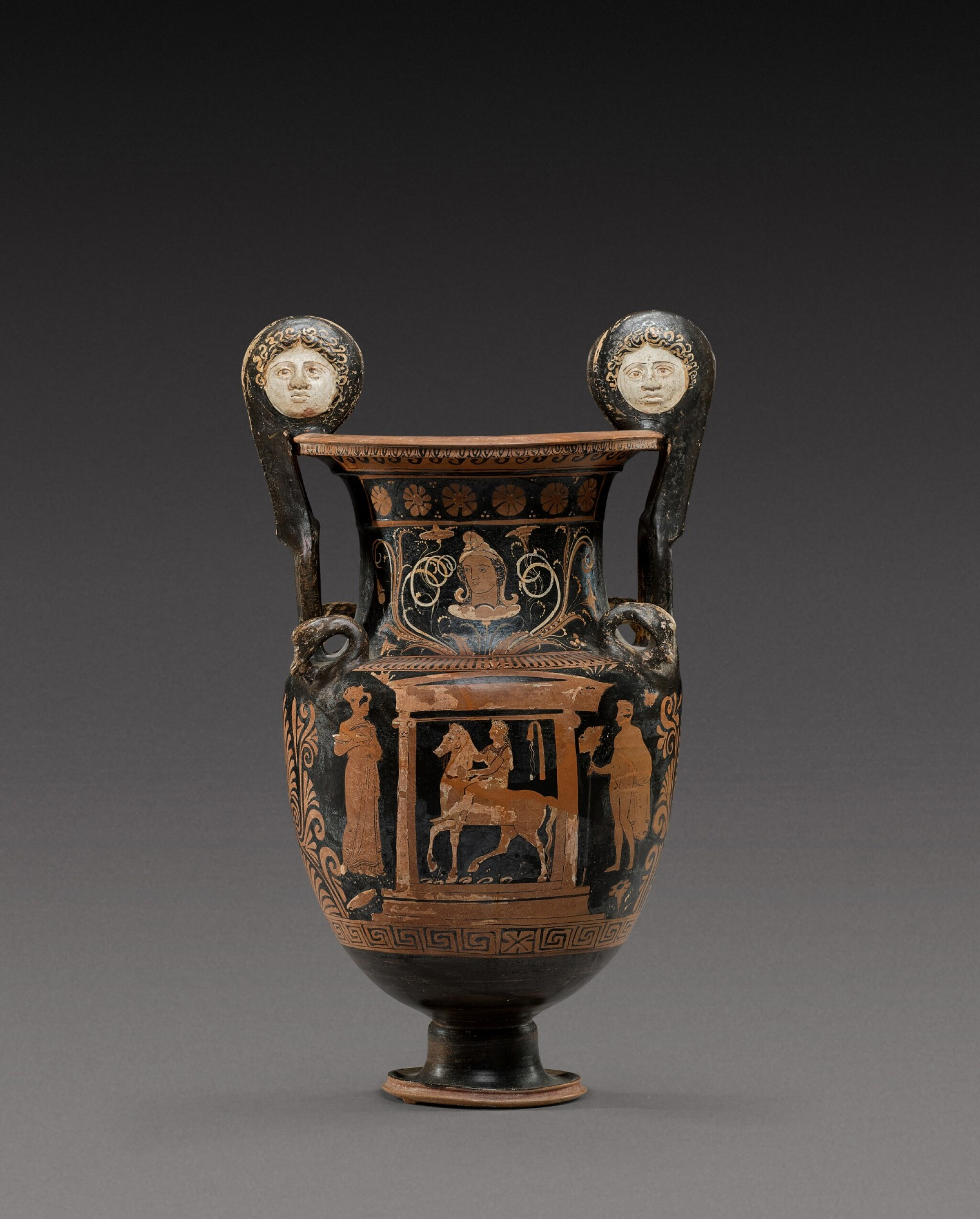 View full screen - View 1 of Lot 33. An Apulian Red-figured Volute Krater, circa 350-330 B.C..