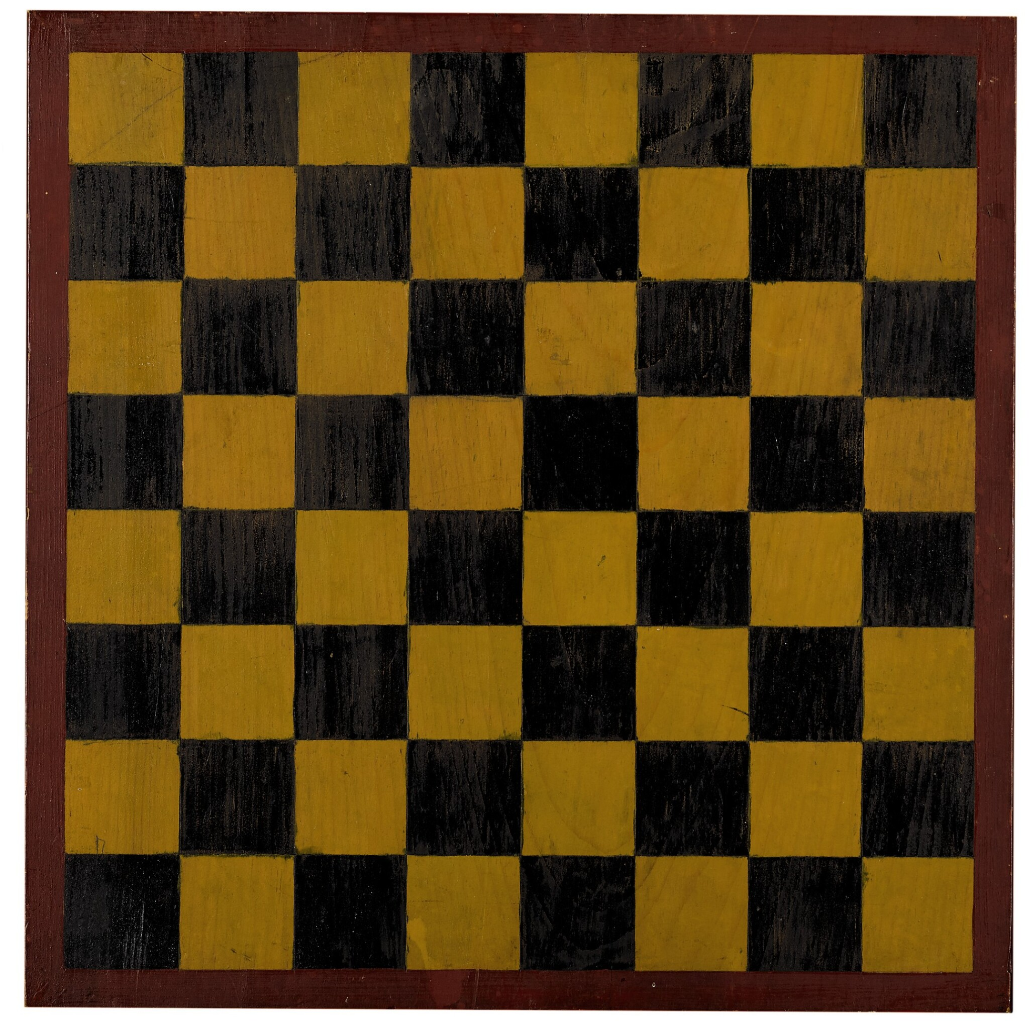 View full screen - View 1 of Lot 1452. AMERICAN POLYCHROME-PAINTED PINE CHECKER GAMEBOARD, 20TH CENTURY  .