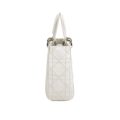 View 2. Thumbnail of Lot 750. DIOR | CREAM LADY DIOR MINI BAG IN SATIN WITH MINI PEARL BEADING CANNAGE AND CRYSTAL TRIM.