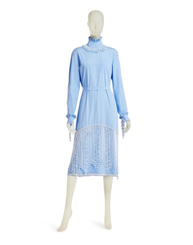 View 3. Thumbnail of Lot 23. PRADA | BEADED FRINGE EMBROIDERY DRESS,  ONE OF A KIND, NOT IN THE SHOW NEITHER IN THE STORES.