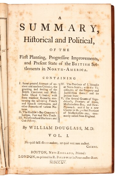 Douglass | Summary, Historical and Political.. of the British Settlements in North-America, 1755, 2 volumes