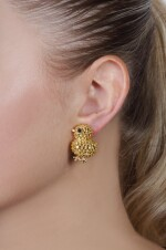 Pair of yellow sapphire and onyx ear clips, 'Chicks', Michele della Valle