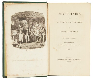 """View 2. Thumbnail of Lot 49. Dickens, Oliver Twist, 1841, """"third edition"""", publisher's cloth."""