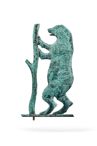 View 3. Thumbnail of Lot 1470. VERY FINE AND RARE MOLDED SHEET-COPPER PERFORMING BEAR WEATHERVANE, J.L. MOTT IRON WORKS, NEW YORK AND CHICAGO, CIRCA 1886-92.
