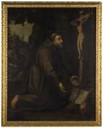 HISPANO FLEMISH SCHOOL, SECOND QUARTER OF 17TH CENTURY | Saint Francis kneeling before a crucifix