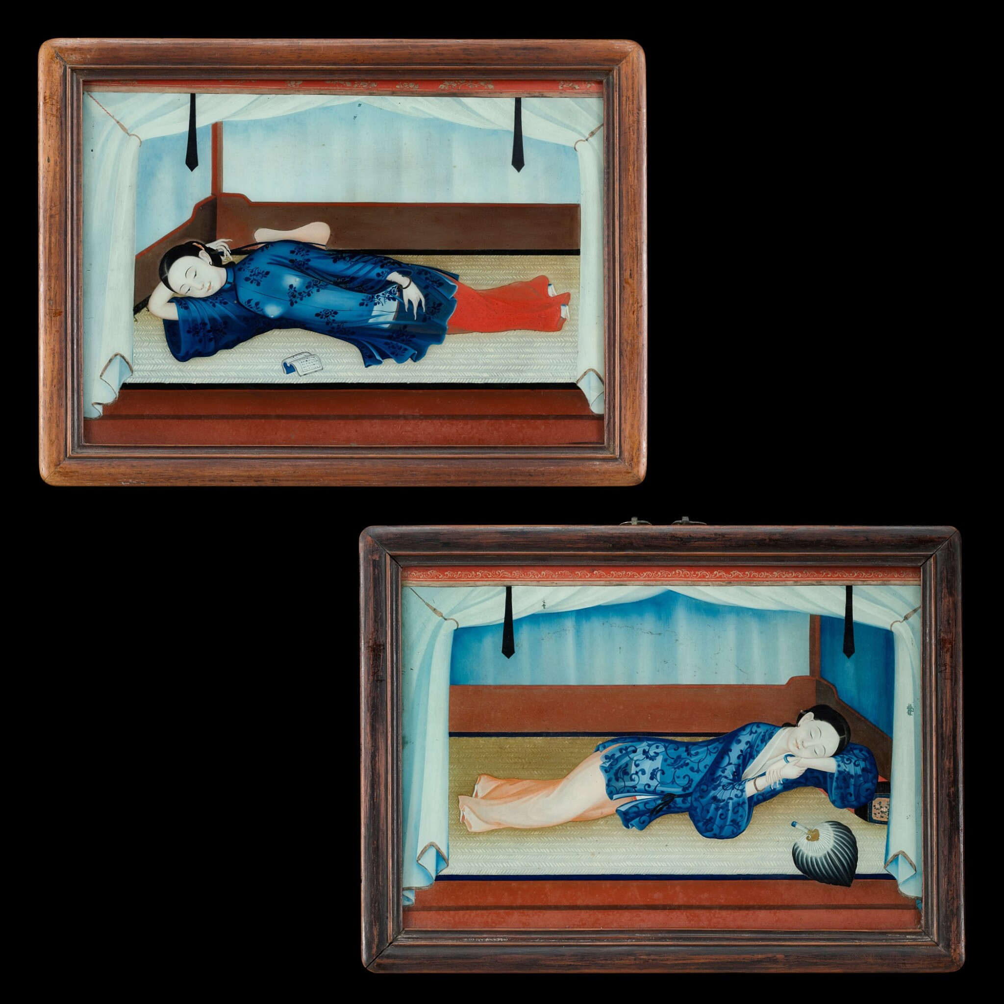 View full screen - View 1 of Lot 187. Chinese School, early 19th century Two Reclining Ladies on Day Bed | 中國畫派 十九世紀初    美人春睡圖一組兩幅   玻璃畫作 木框.