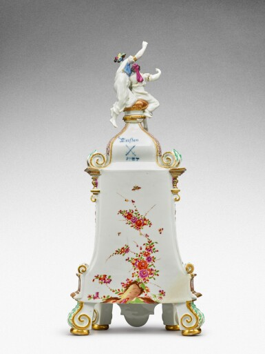 View 5. Thumbnail of Lot 64. A highly important documentary and dated Meissen mantel clock case, Dated 1727, the gilt-bronze mount probably German, mid-18th century, the movement signed Barrey à Paris, Circa 1700 .