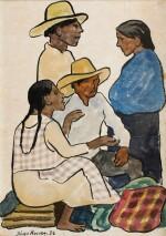 Grupo en el mercado: dos hombres y dos mujeres