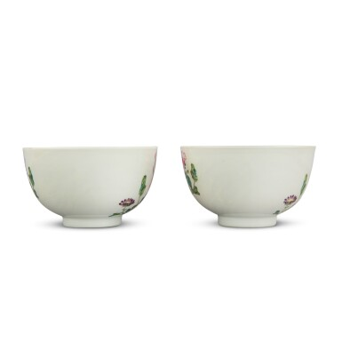View 4. Thumbnail of Lot 205. A pair of later-enameled famille-rose 'floral' bowls, Marks and period of Yongzheng   清雍正 後加彩粉彩牡丹圖盌一對 《大清雍正年製》款.