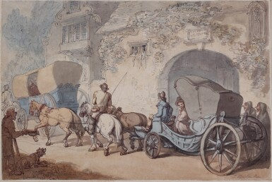 THOMAS ROWLANDSON | A busy road with a lady riding in a barouche