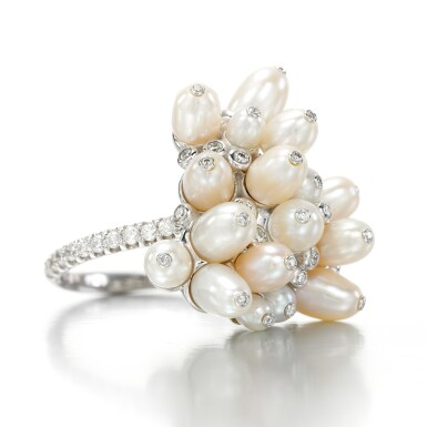 View 1. Thumbnail of Lot 46. Cultured pearl and diamond ring, 'Tzigane'.
