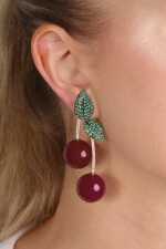 Pair of red agate, emerald and diamond earrings, 'Cherries', Michele della Valle