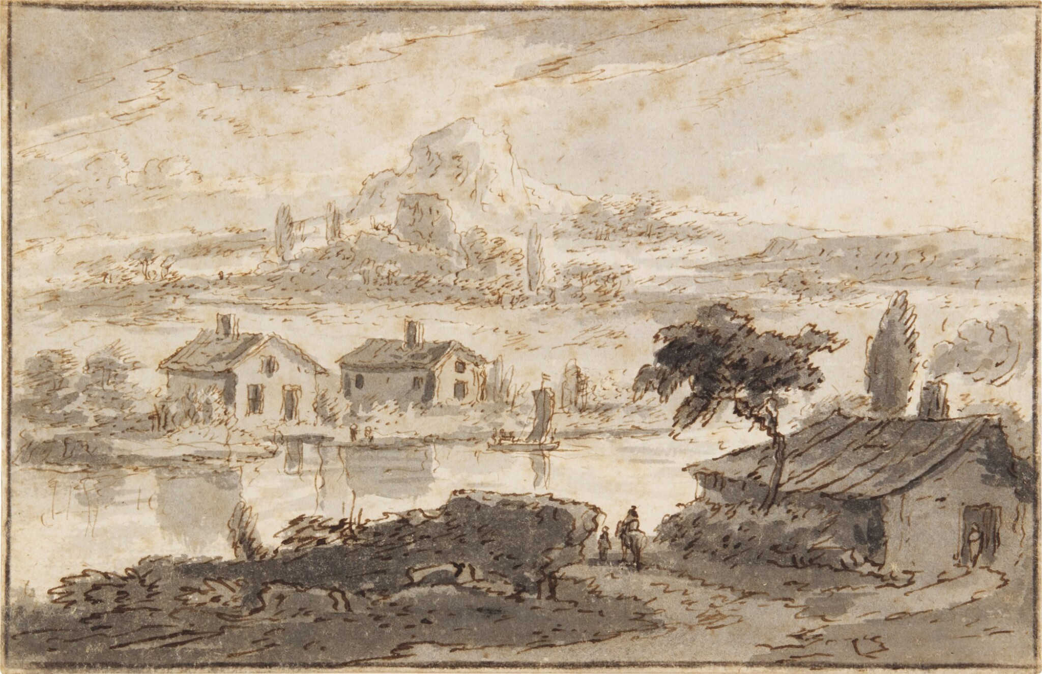 View full screen - View 1 of Lot 53. Italianate landscape with houses by a river and hills behind.