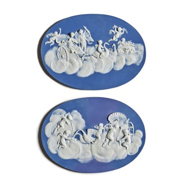 A PAIR OF WEDGWOOD DARK-BLUE AND WHITE JASPER-DIP OVAL PLAQUES LATE 18TH CENTURY