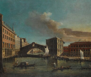 MANNER OF GIOVANNI ANTONIO CANAL, CALLED CANALETTO | Venice, a view of the Ponte di Rialto from the North